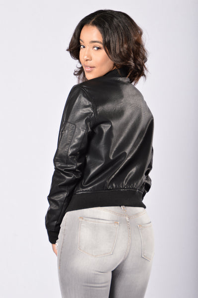 Feeling Fly Vegan Bomber Jacket - Black
