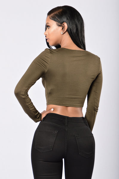 Dare Me Crop Top - Olive