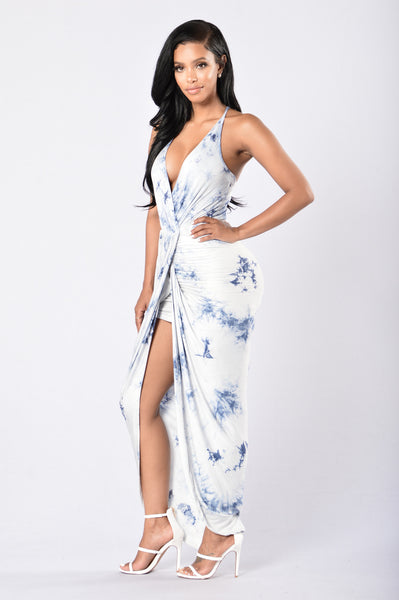 Tall Drink of Water Dress - Blue/White