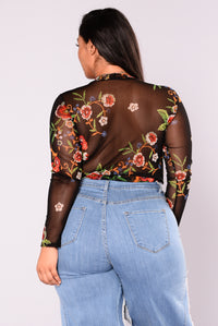 Across The Garden Floral Bodysuit - Black/Red