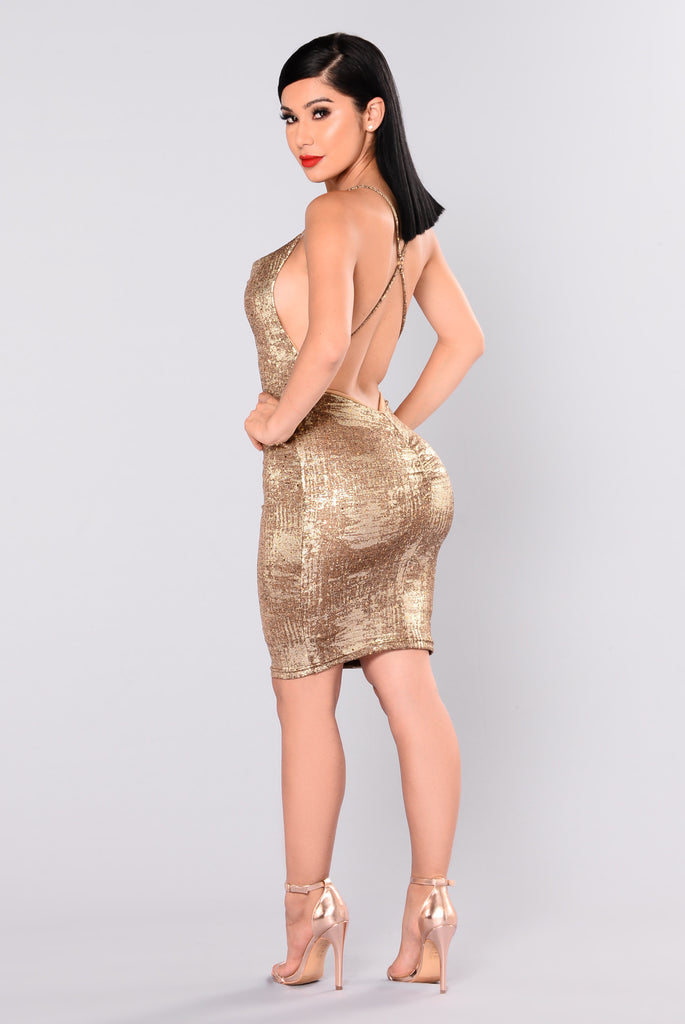 Kelis Metallic Dress - Gold