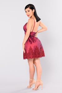 Melody Party Dress - Burgundy