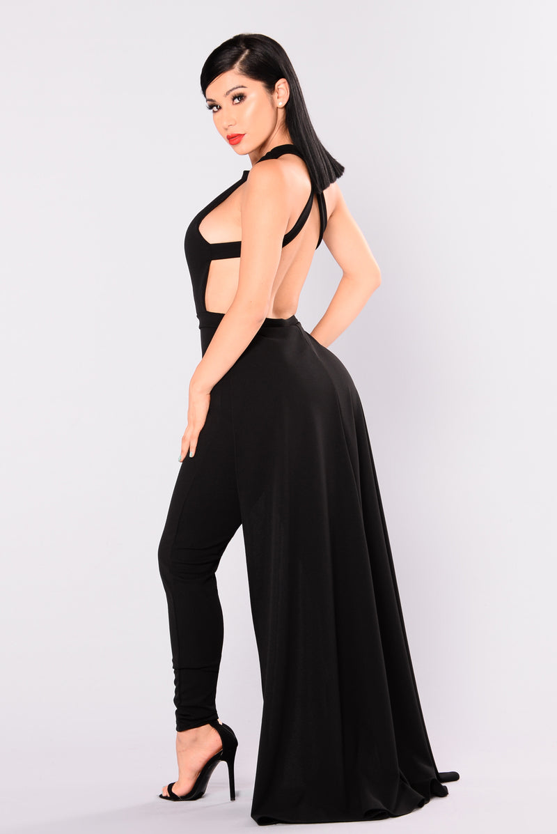 Crystal Cross Back Jumpsuit - Black