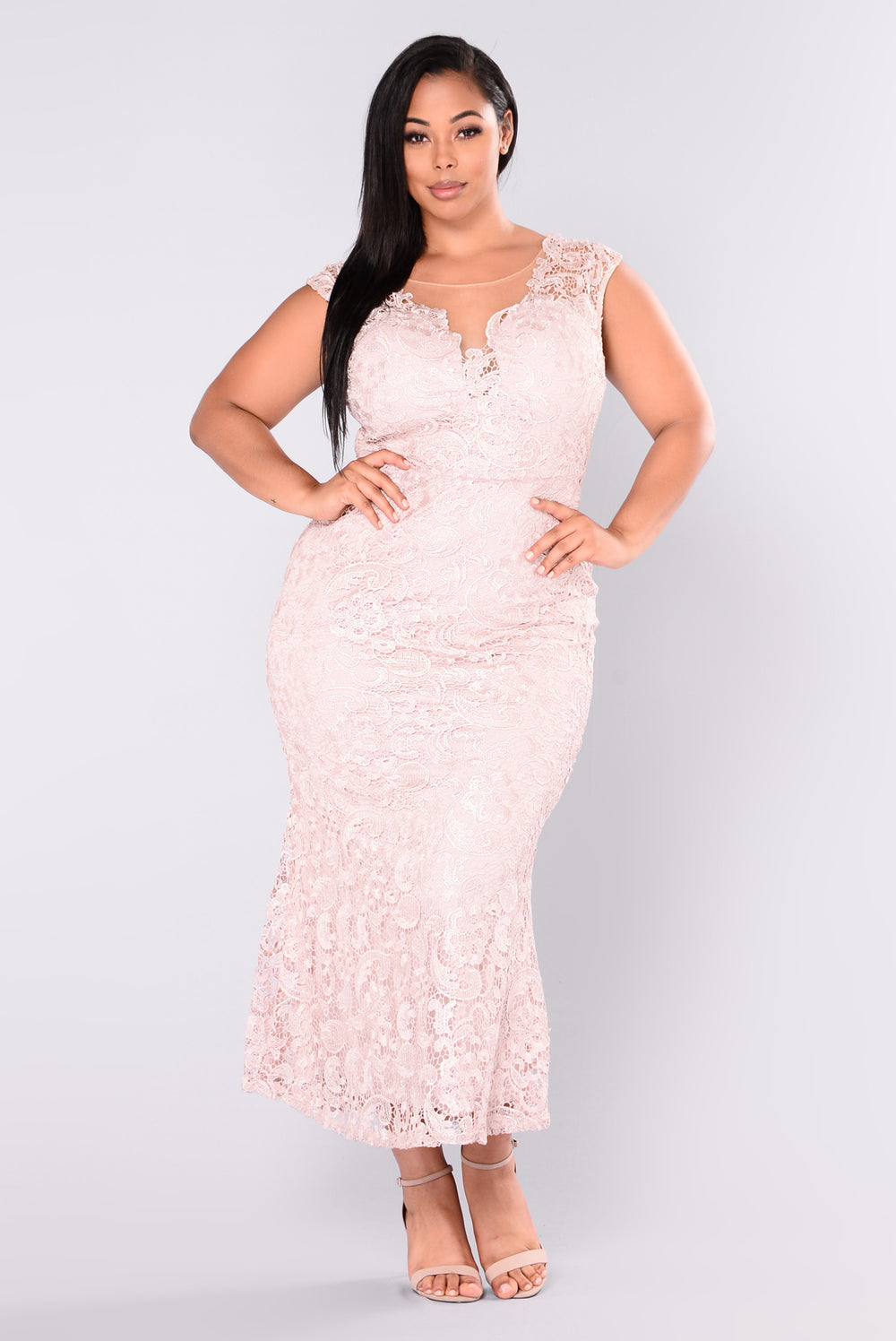 Whisper In My Ear Lace Dress - Rose