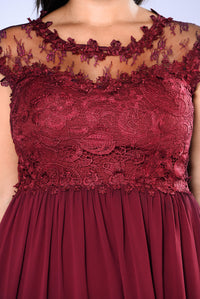 Halley Lace Maxi Dress - Burgundy