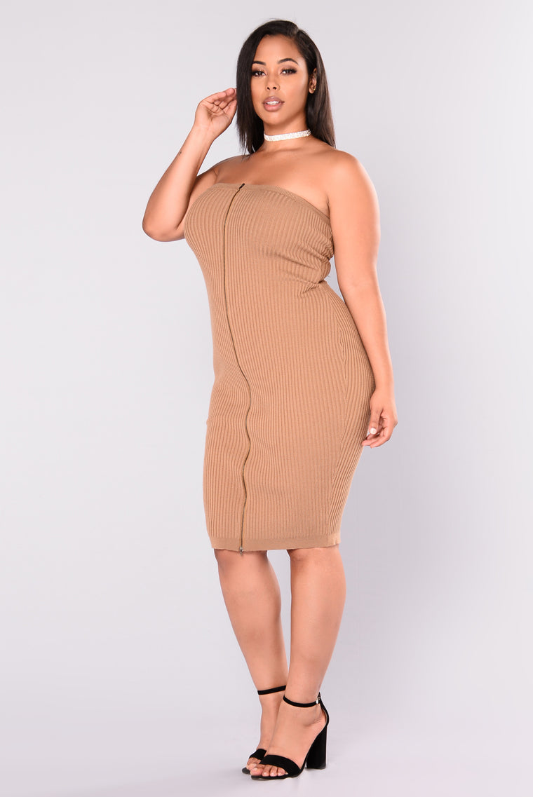 Rib Me Down Knit Dress - Mocha