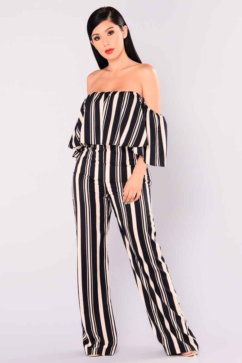 Josie Striped Jumpsuit - Navy