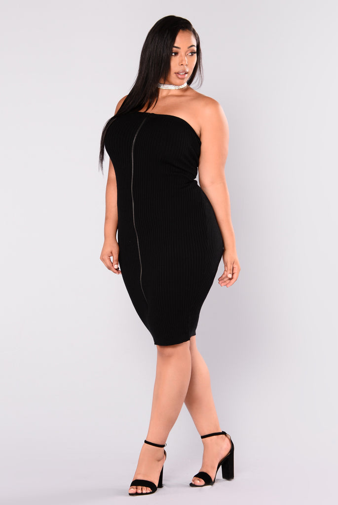 Rib Me Down Knit Dress - Black