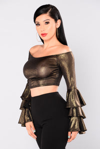Seraphina Off The Shoulder Top - Gold/Black