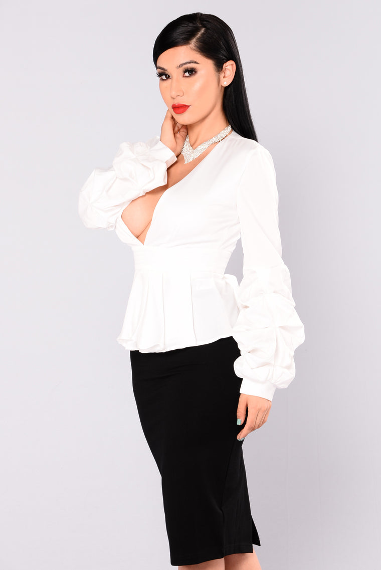 Back To Reality Peplum Top - Ivory