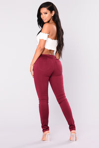 Bottoms Up Booty Shaping Ponte Pants - Burgundy