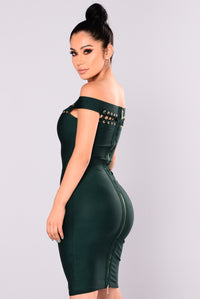 The Feeling Bandage Dress - Hunter Green