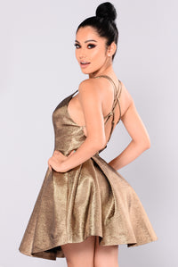 Avenue Metallic Dress - Gold