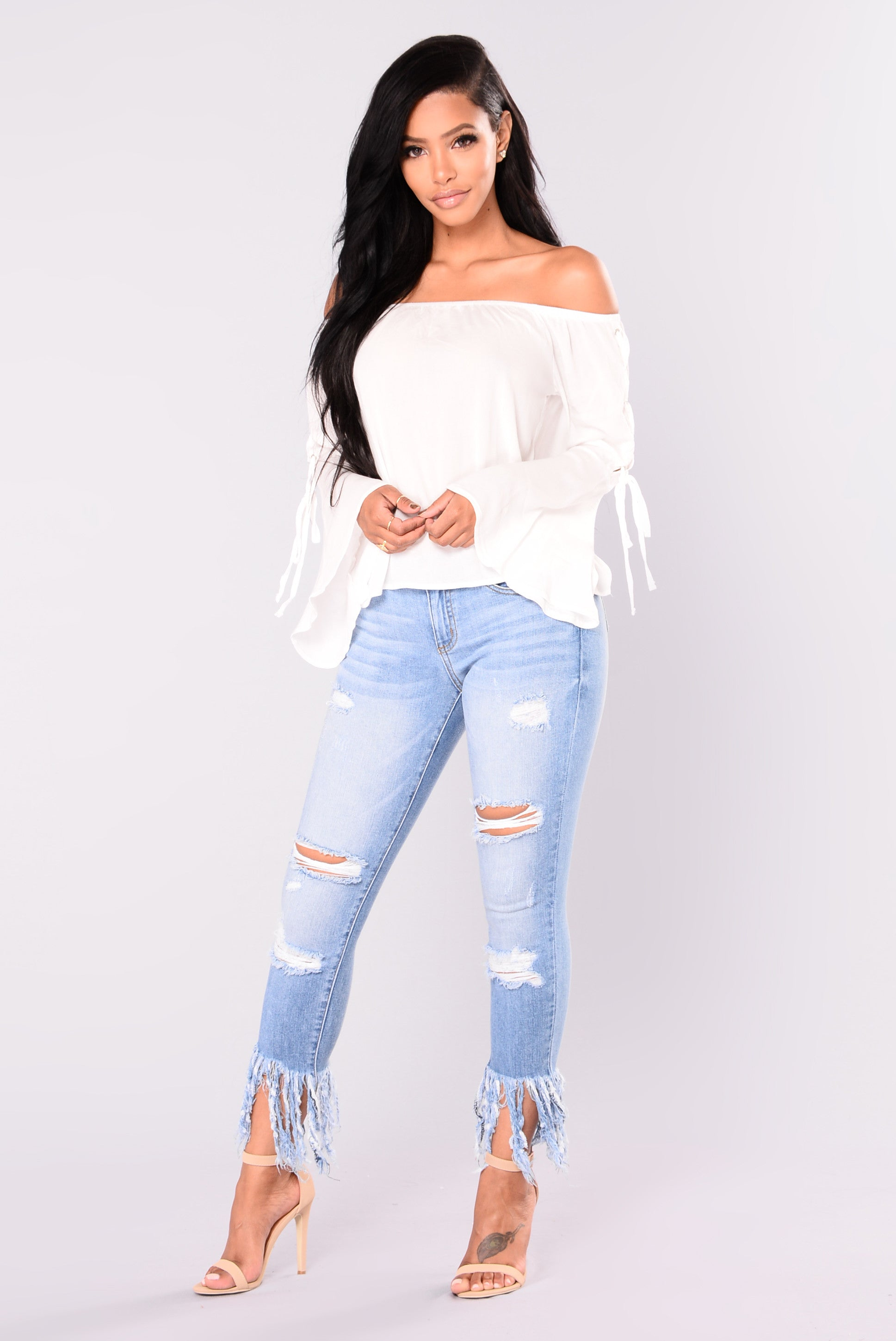 47e7652bc711 Going On Vacation Off Shoulder Top - Off White