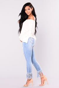 Porsha Frayed Jeans - Light Blue