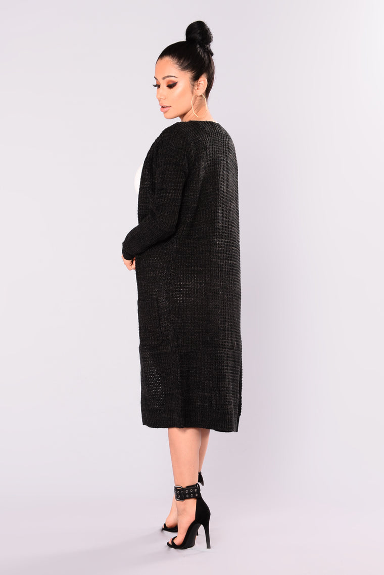 Abella Duster Sweater - Black/Charcoal