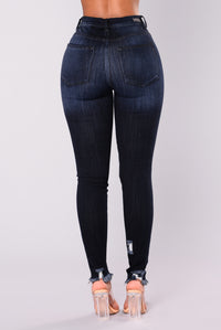 Bad Gal Distressed Skinny Jeans - Dark Blue