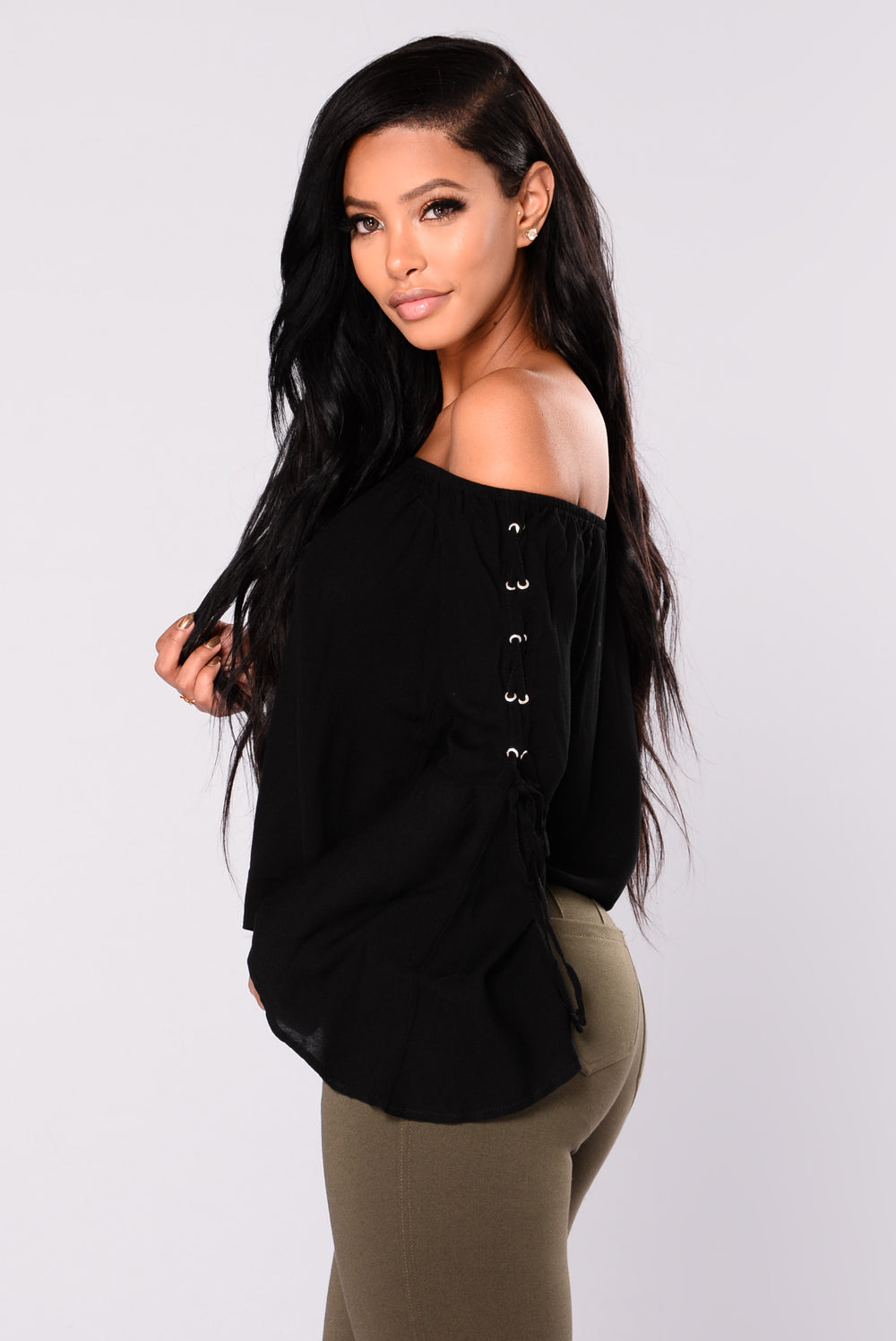 Going On Vacation Off Shoulder Top - Black