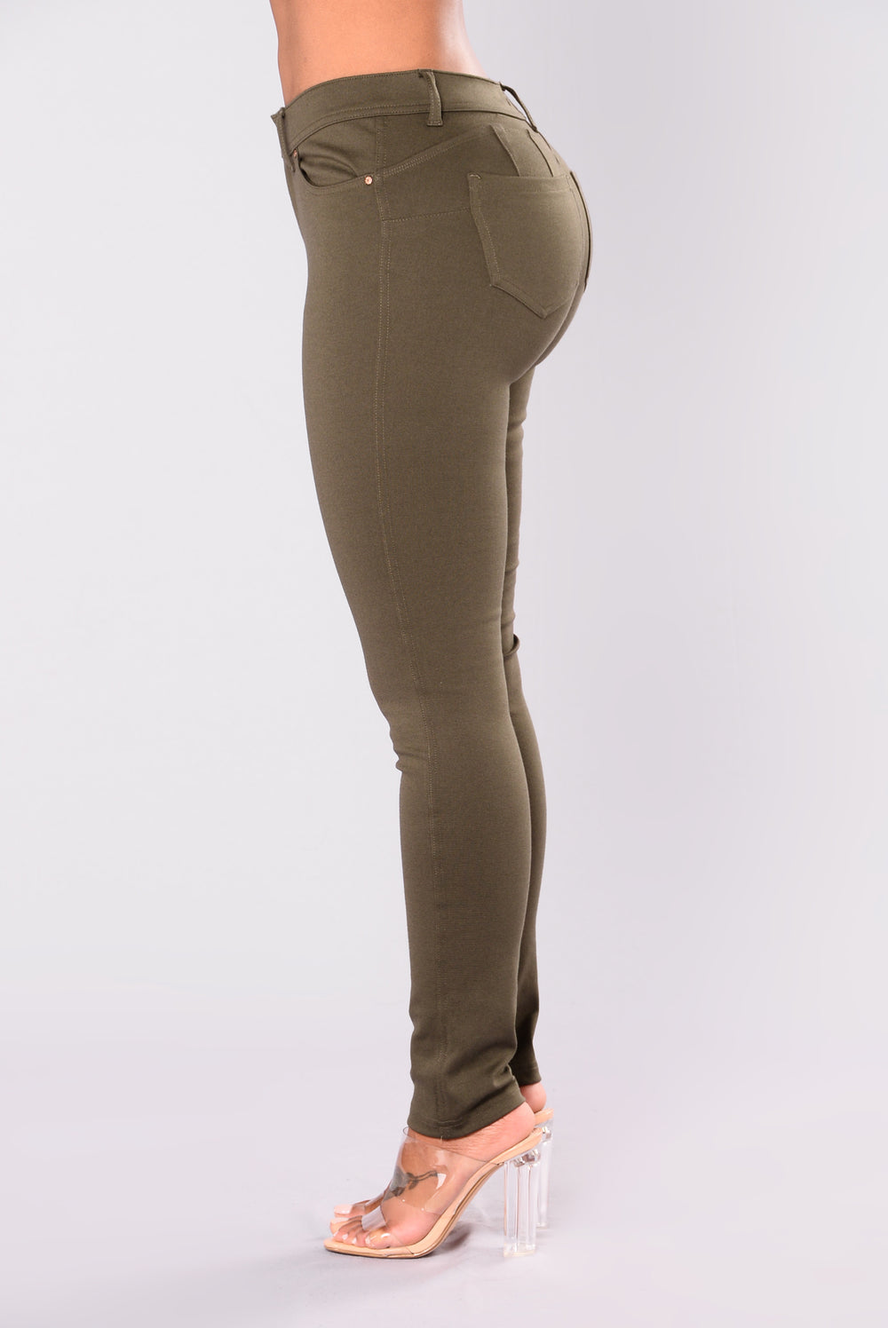 Bottoms Up Booty Shaping Ponte Pants - Olive