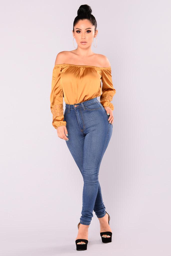Cosmo Girl Off Shoulder Top - Dark Mustard