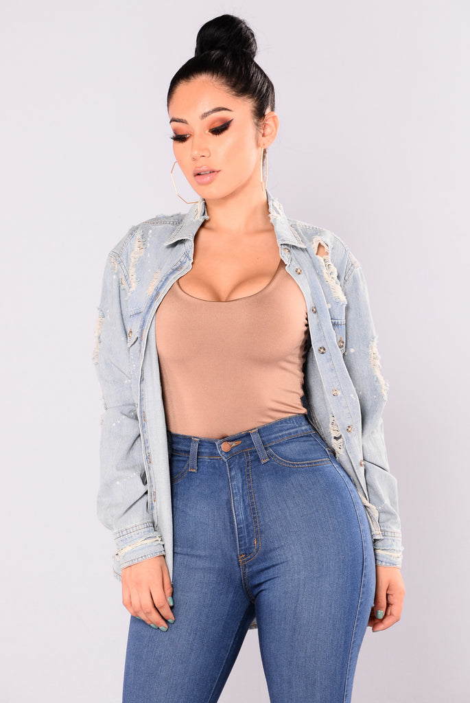 Don't Pull Away Denim Top - Light Wash