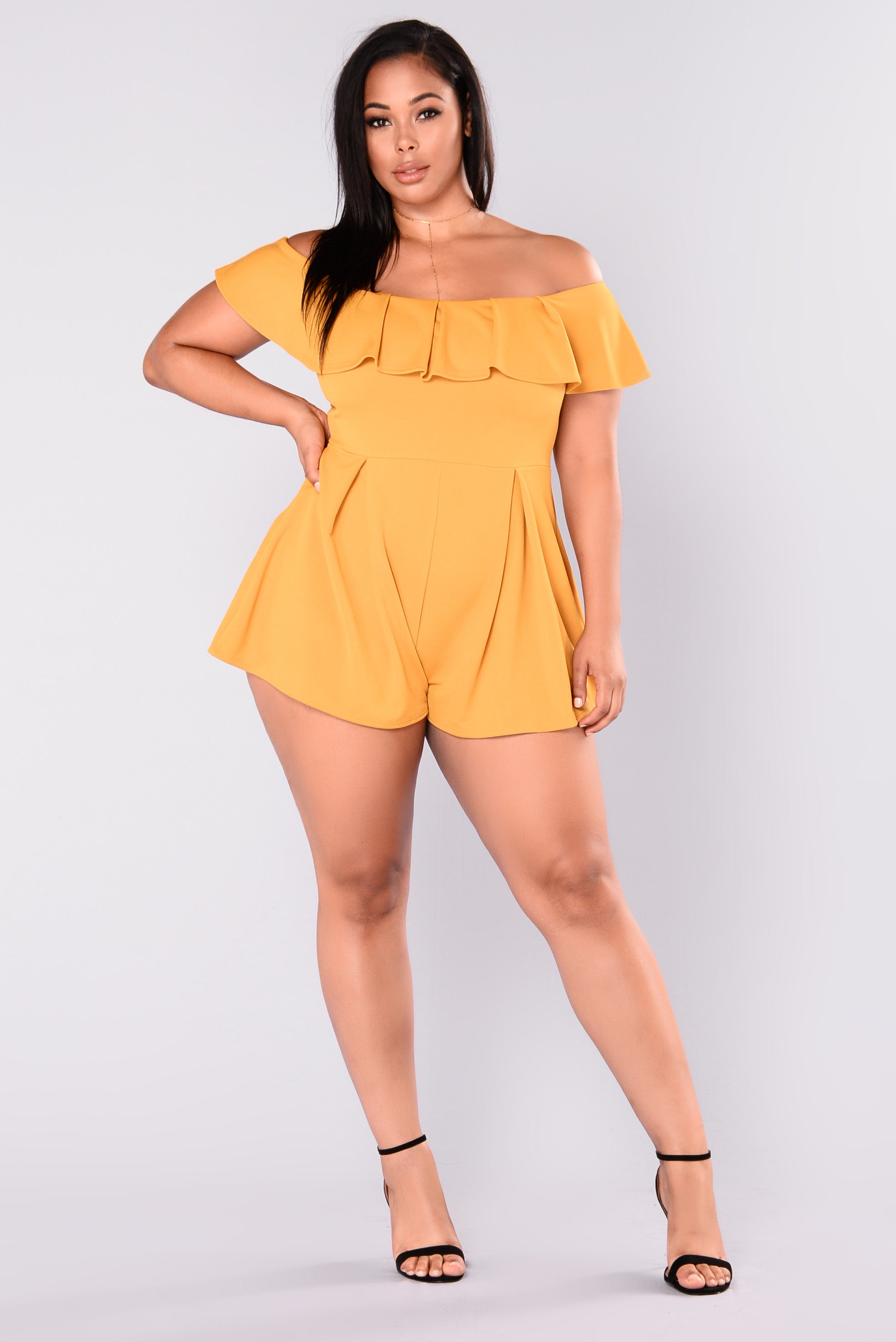 2f623294fe2a In My Feelings Romper - Mustard. plus-size. plus-size