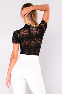 Janet Short Sleeve High Neck Lace Bodysuit - Black