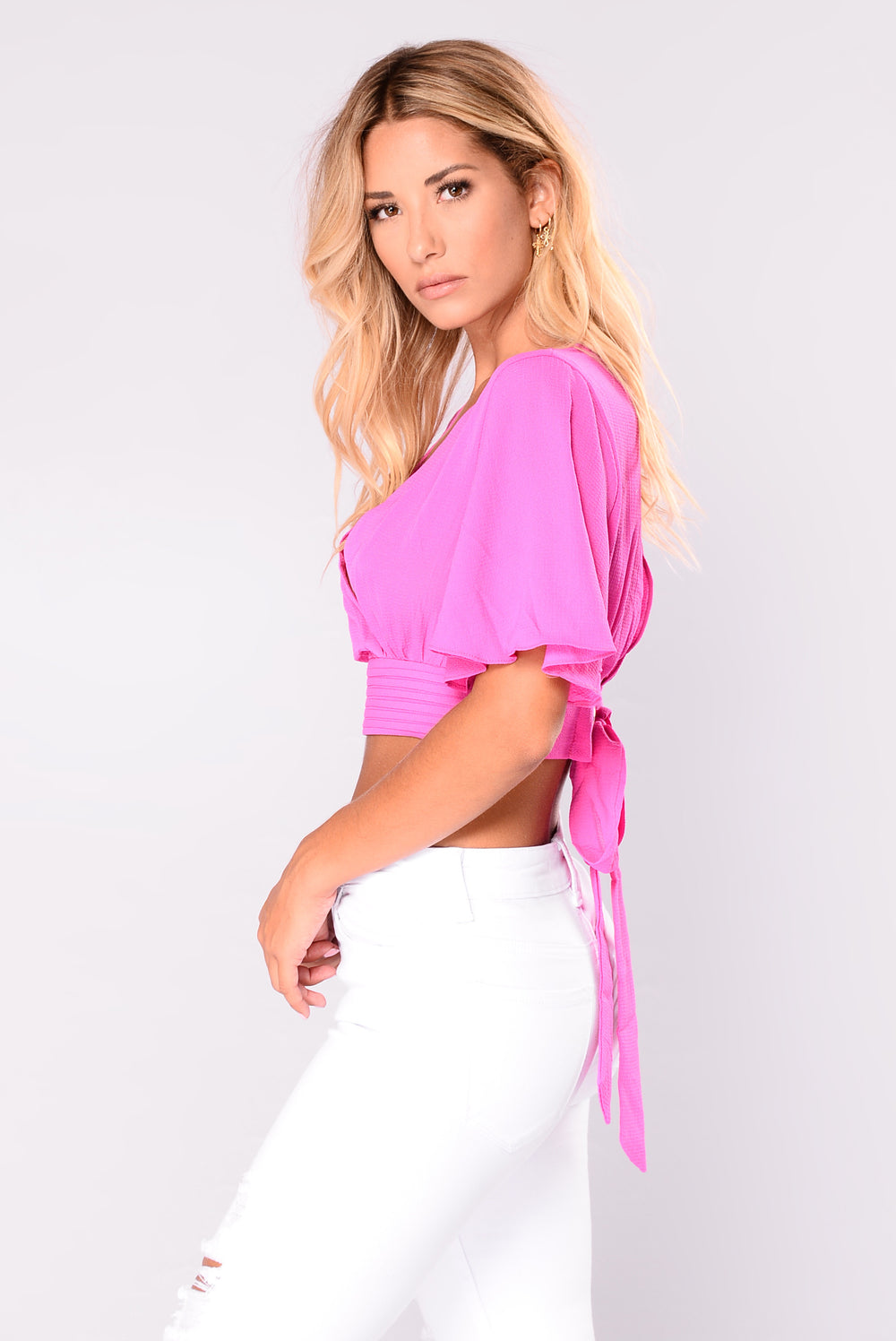 Tina Surplice Crop Top - Pink