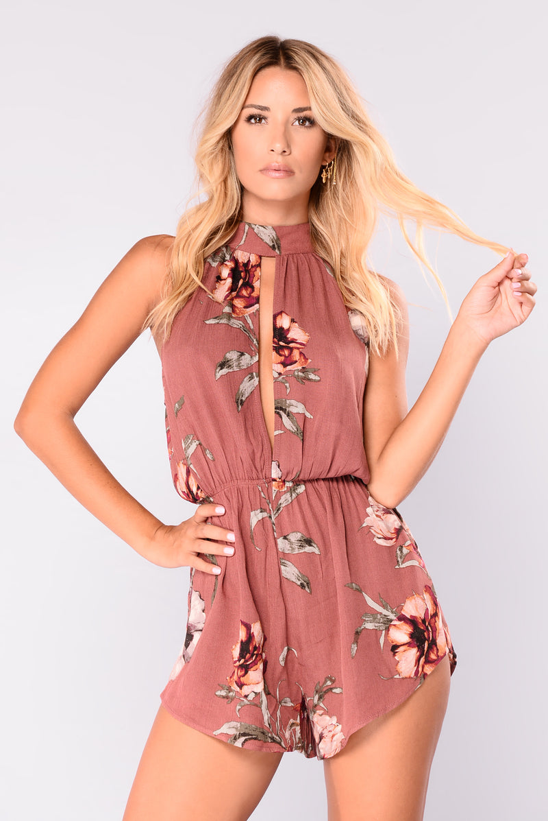 Cayman Islands Floral Romper - Dark Mauve