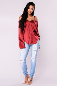 Yesenia Satin Top - Burgundy Angle 2