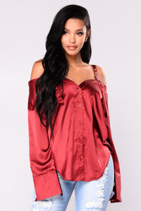 Yesenia Satin Top - Burgundy Angle 1