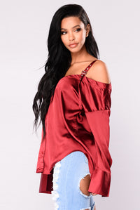 Yesenia Satin Top - Burgundy Angle 4