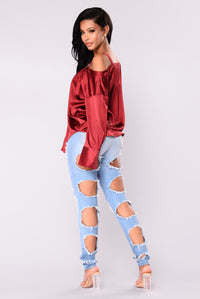 Yesenia Satin Top - Burgundy Angle 5