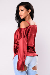 Yesenia Satin Top - Burgundy Angle 3