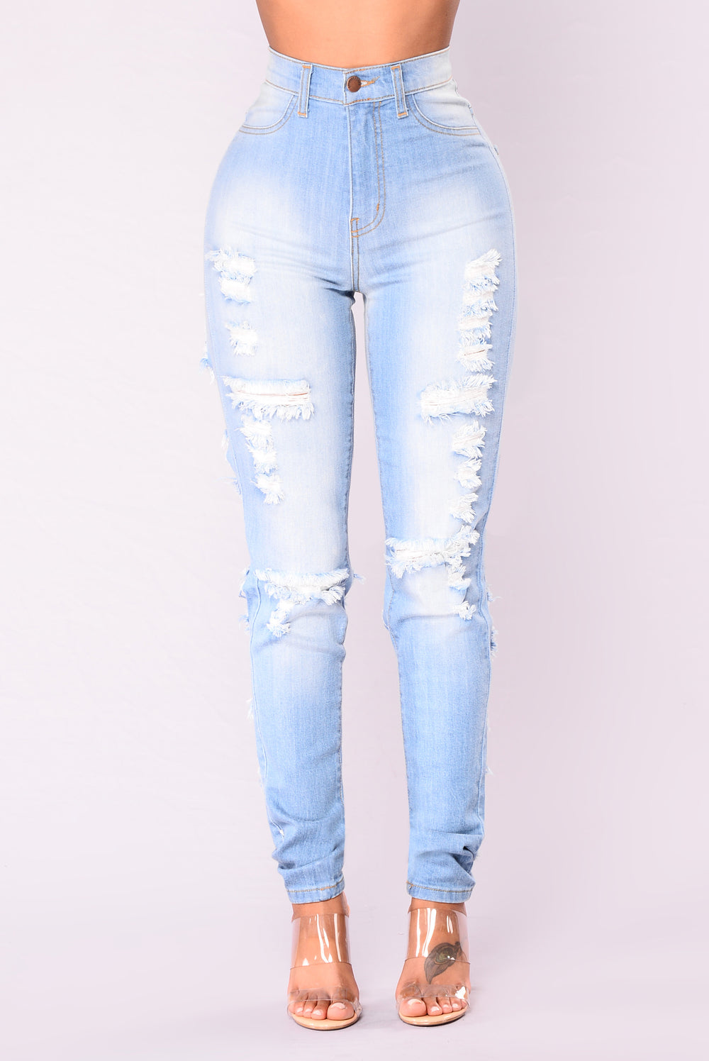 Shred And Slay Jeans - Light Blue