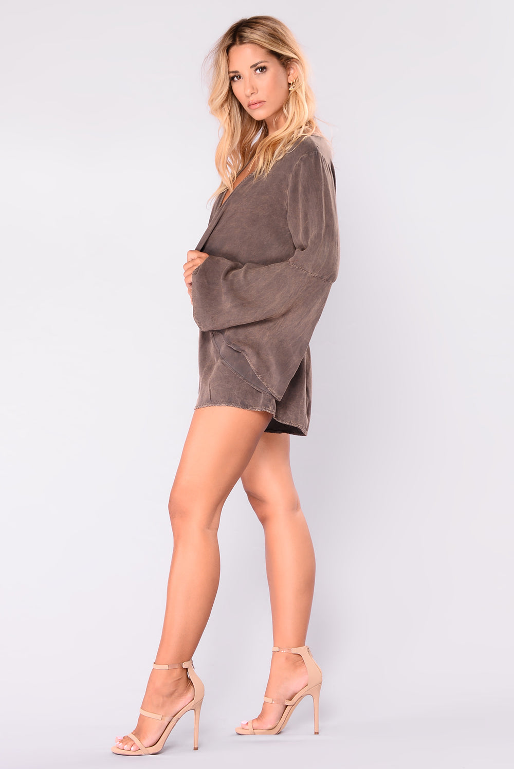 Laura Mineral Wash Romper - Brown