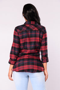 Macie Plaid Top - Red/Navy
