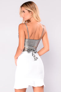 Zaylee Wrap Crop Top - Silver/Black