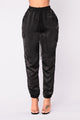 Claire Satin Jogger Pants - Black