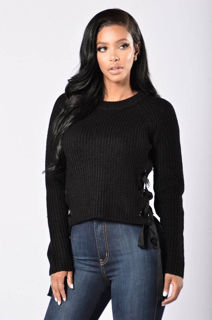 Lace Up Armour Sweater - Black