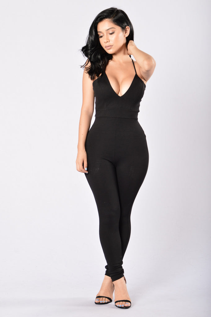 Tie Me Up In Lace Jumpsuit - Black