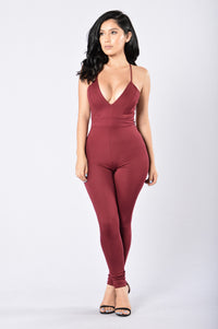 Tie Me Up In Lace Jumpsuit - Burgundy Angle 2
