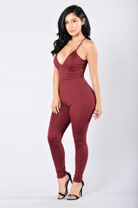 Tie Me Up In Lace Jumpsuit - Burgundy Angle 4