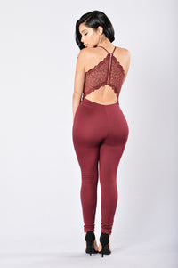 Tie Me Up In Lace Jumpsuit - Burgundy Angle 1