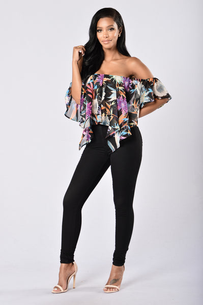 Miss Tropical Top - Black