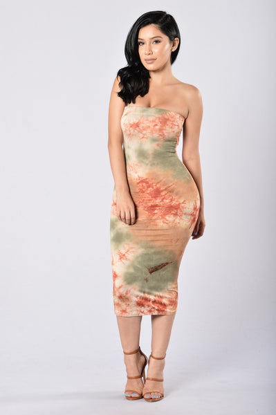 Cut And Dye Tube Dress - Olive/Rust