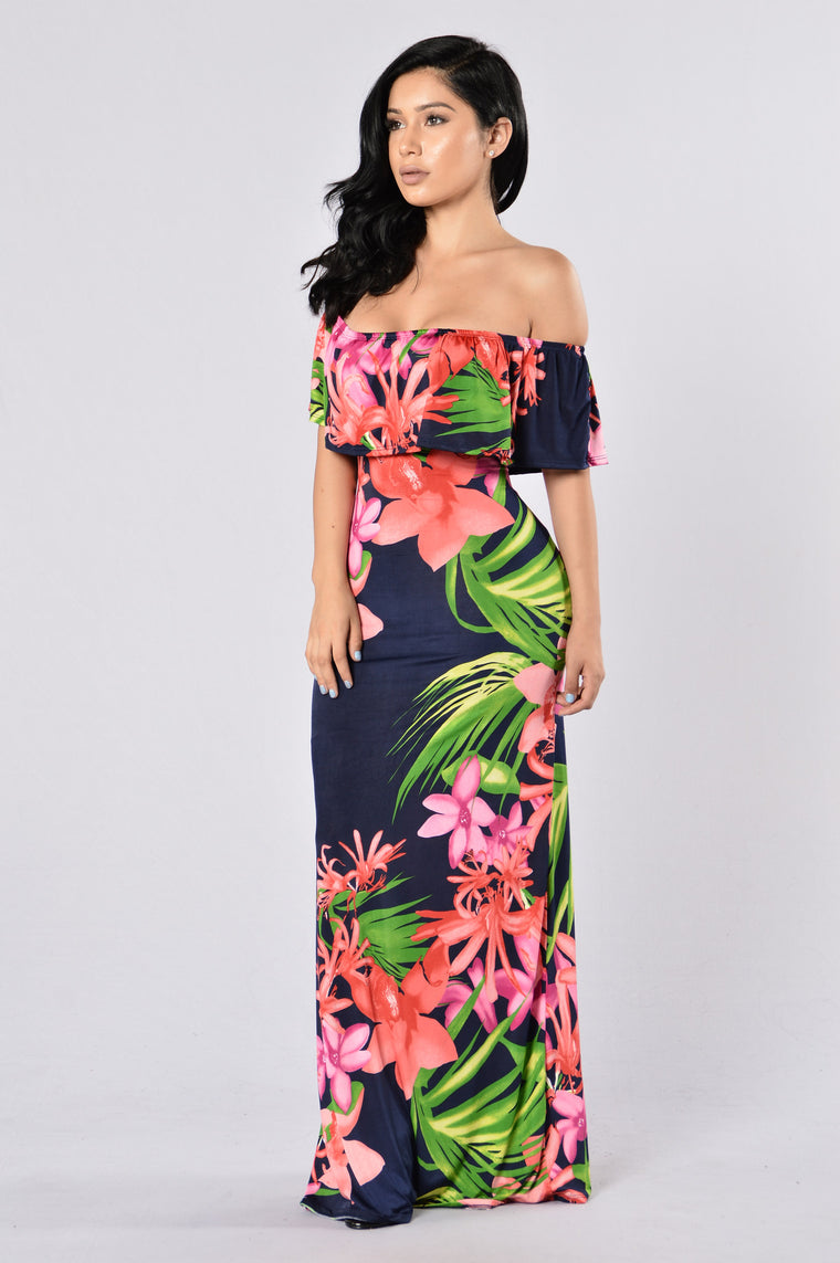 Saint Lucia Dress - Navy Multi