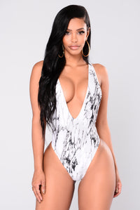 Marbleous Swimsuit - Black/White