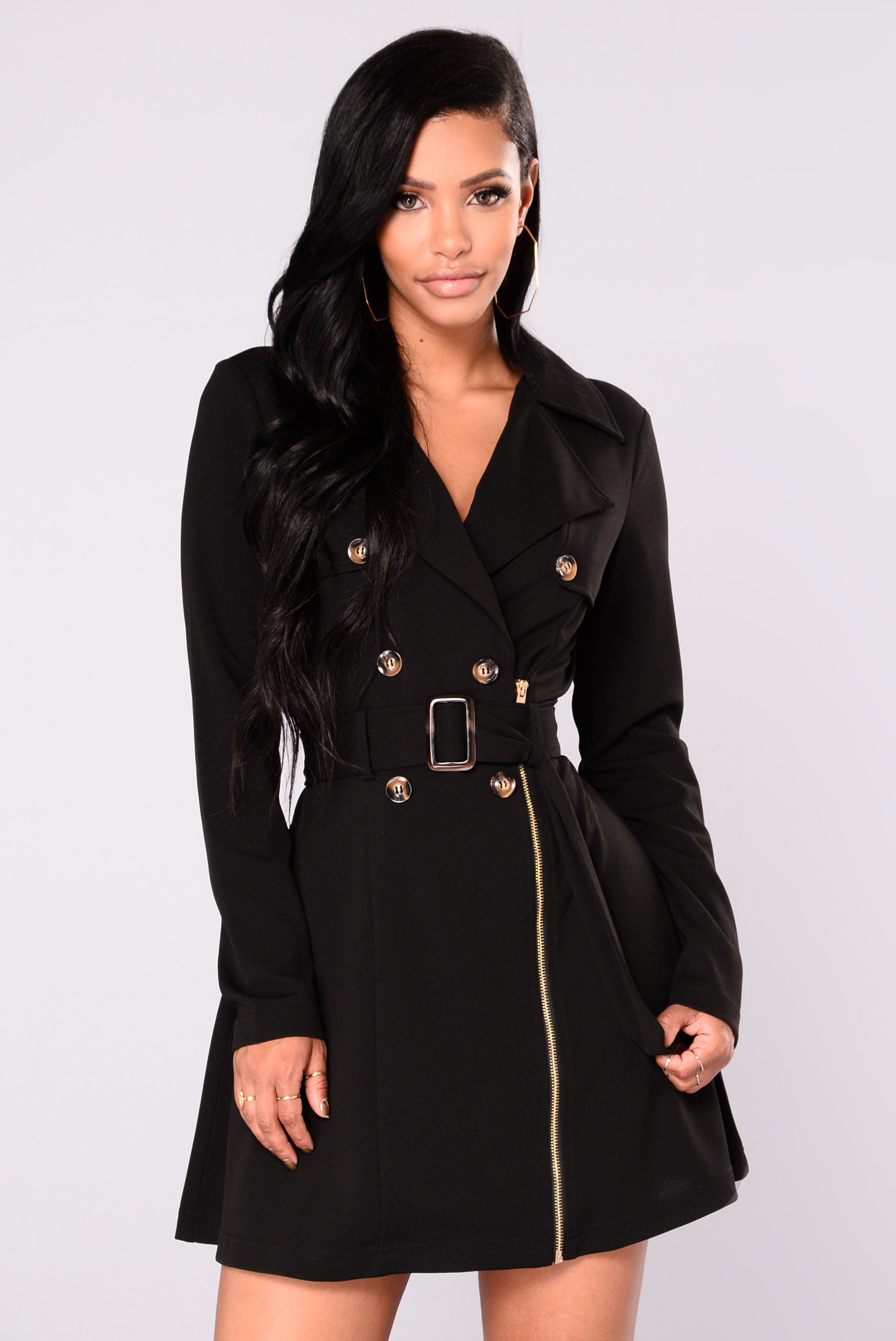 Black trench coat looks