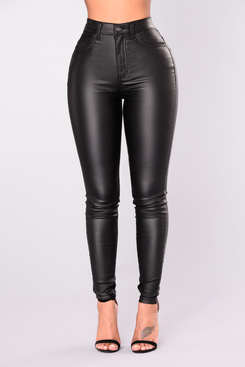 City Chic Coated Skinny Jeans - Black